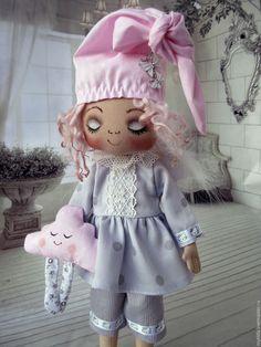 Куклы тыквоголовки ручной работы. Ярмарка Мастеров - ручная работа. Купить Ангел - Соня (с облачком). Handmade. Бледно-розовый