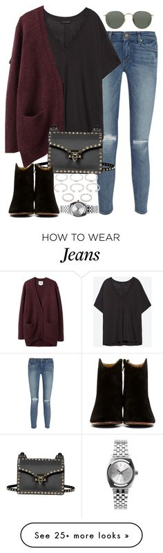 """""""Sin título #3029"""" by hellomissapple on Polyvore featuring Paige Denim, Zara, Acne Studios, Valentino, Isabel Marant, Forever 21, Nixon and Ray-Ban"""