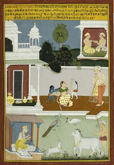 Young Krishna and Balarama playing with their mother Yashoda. In the lower left corner the blind poet claps cymbals. The Sur Sagar by Surdas, a C. devotional poem dedicated to Lord Krishna Rajasthani Painting, Rajasthani Art, India Painting, India Art, Indian Elephant, Islamic World, Krishna Images, Miniature Paintings, Art And Architecture