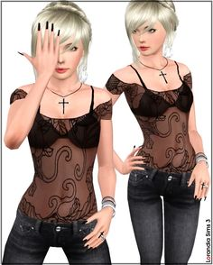 Japanese flowers mesh top in gypsy style . 3 recolorable areas, 2 color variations, custom CAs and launcher thumbnails.