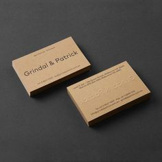 Grindal & Patrick business cards, designed by Mildred & Duck, printed by Hungry Workshop on Colorplan Harvest and photographed by Foliolio. Melbourne, Blog Design Inspiration, Minimal Web Design, Bussiness Card, Letterpress Business Cards, Tola, Graphic Design Projects, Name Cards, Visual Identity