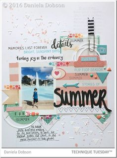 The perfect scrapbook page for Summer by Daniela Dobson! Love how she used the Summer Adventure stamp set from TechniqueTuesday.com as part of her design. Nicely done, Daniela!