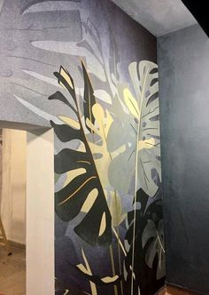 "Officinarkitettura® Collection Botanika"" wallpaper wallcovering cartadaparati www officinarkitettura it is part of Wall murals painted - Mural Wall Art, Mural Painting, Flur Design, Wall Design, Murals Street Art, Wall Drawing, Creative Walls, Paint Designs, Wall Wallpaper"
