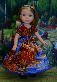 """Riverside"" Dress Outfit for American Girl Wellie Wishers Hearts for Hearts #LuminariaDesigns"