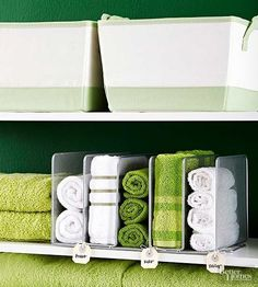 Problem: No towel rack Solution: A metal paper file makes a perfect storage place for rolled towels in the bathroom. Not only are the towels easy to reach, but they become instant decoration. So choose towels in multiple colors for a beautiful display.