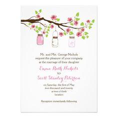 Pink cherry blossoms and mason jars spring wedding invitations. #weddinginvitations #weddinginvites #masonjards #cherryblossoms