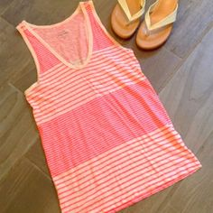 """❣BOGO 1/2 off❣🆕 J. Crew pink striped tank top ❤️NWOT. 100% vintage cotton- super soft & lightweight! New condition- only minuscule flaw is where I removed the tag & left an unnoticeable while wearing hole on back neck (3rd  pic).Measures approx 25"""" long & 34"""" bust. Size XS. Sandals available in separate listing. 💟Bundle to save! 💟NO TRADES💟 REASONABLE offers welcome via offer button. J. Crew Tops Tank Tops"""