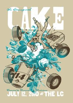 1- I like this poster because it captures the band's weird and fun aspect of their music. 2- it uses contrast very well both in the use of color and detail with the varying amounts of detail and use of blue. 3- the 14 on the car is a little distracting as being mistaken as a piece of information instead as part of the art. (but it would be kinda weird for an old race car like that to not have a number.) 4- STC