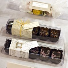 Yum! Who wouldn't love receiving this for a bonbonniere gift? A delicious treat to look forward to when your guests take their dancing shoes off after a long day of celebrating your wedding day :)