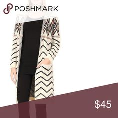 Hoody Cardigan Herringbone Pattern Hooded Cardigan! One Size! 100% Acrylic! Hand Wash/ Dry Flat Sweaters Cardigans