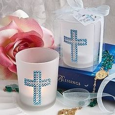 Bling Collection cross candle favors Boy Lovely little gift for new baby boy