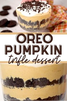 This Oreo Pumpkin Trifle Dessert is perfect for upcoming holiday meals, including Thanksgiving.  It is made with an Oreo crust, pumpkin mousse,  and whipped cream.  Don't you just want to dive into this?  This could become your new favorite pumpkin dessert for the Fall season. #oreos #pumpkinrecipes #pumpkintrifle #pumpkindesserts #fallrecipes