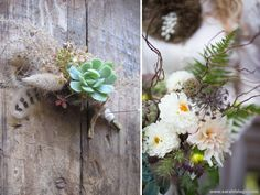 rustic succulent, natural grass, feather and flower boutonniere   floral design: The Blue Carrot - Wild By Nature
