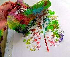 Use a large or small leave and paint all the colors you desire and then lay on plain paper.