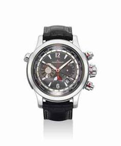 JAEGER-LECOULTRE. A FINE PLATINUM AND TITANIUM LIMITED EDITION AUTOMATIC CHRONOGRAPH WORLD TIME WRISTWATCH WITH DATE