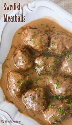 Classic Swedish meatballs made from a mixture of beef and pork, flavored with nutmeg and cardamom and served with a rich beef and sour cream gravy. via Simply Recipes Best Swedish Meatball Recipe, Swedish Recipes, Meat Recipes, Cooking Recipes, Chard Recipes, Recipies, Dip Recipes, Good Food, Yummy Food
