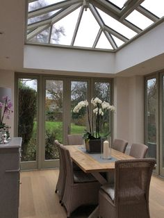 Orangery with two pairs of french doors Orangery Extension Kitchen, Orangerie Extension, Kitchen Orangery, Conservatory Dining Room, Modern Conservatory, Orangery Roof, Orangery Conservatory, Conservatory Interiors, House Extension Plans