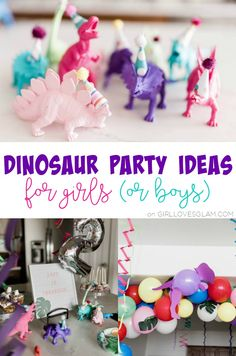 Dinosaur Party Ideas for Girls – Girl Loves Glam Dinosaur party ideas for girls! It isn't just boys who want dinosaur birthday parties, little girls love dinosaurs too! Create a dino party for her! Dinosaur Party Games, Birthday Party Games, 4th Birthday Parties, Birthday Party Decorations, Birthday Ideas, Birthday Brunch, 30th Birthday, Birthday Themes For Girls, Diy Dinosaur Party Decorations