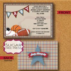 All Star Sports for Baby Boy by JoJo Inspired Customized Baby Shower or Party Invitation. $15.00, via Etsy.
