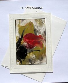 ORIGINAL Art Card painted with beeswax floral by StudioSabine, $15.00