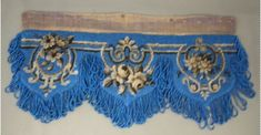 Beaded blue mantel cloth with brown beaded floral design. Cotton or linen backing. Photo Buttons, Search People, Online Collections, Museum Collection, Blue Beads, Red Velvet, Floral Design, Two By Two, Objects