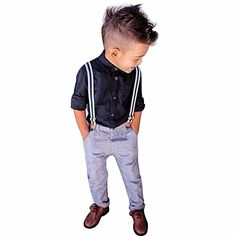 iEFiEL 3pcs Kleinkind Baby Jungen Bekleidung Set Bekleidungsset Gentleman Somoking Taufe Anzug Langarm T Shirt mit Hose Gr. 80 86 92 98 104-110 Schwarz+Blau 80 (Herstellernummer: 80)