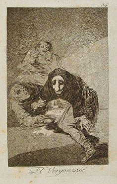Francisco de Goya - El vergonzoso, 1799. Los Caprichos nº 54.