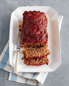 Meatloaf with garlic mashed and french cut grean beans.  A combo with a favorite from each person in the family.