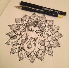 I really like the softness of the eyes and the idea of Ganesha in mandala Trendy Tattoos, Love Tattoos, New Tattoos, Body Art Tattoos, Gorgeous Tattoos, Tattoo Motive, Mandala Tattoo, Mandala Art, Lotus Tattoo