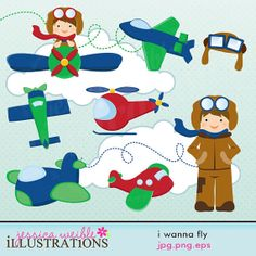I Wanna Fly Cute Digital Clipart for Card by JWIllustrations, $5.00