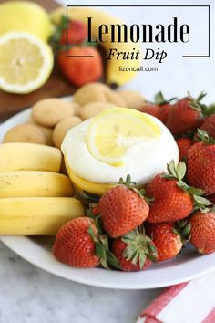 Easy Lemonade Fruit Dip Recipe - Liz on Call A summer bar-b-cue is not complete with out a fruit plate and an easy fruit dip recipe. Try this lemonade fruit dip recipe for your next family get together. It makes fruit taste good! Lemon Fruit Dip Recipe, Easy Lemonade Recipe, Party Fruit Platter, Fruit Plate, Easy Fruit Dip, Fruit Dips, Veggie Dips, Baked Potato Dip, Grilled Fruit