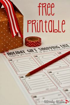 Holiday Gift Shopping List - free printable. Not like it's hard to make a list, but this is prettier!