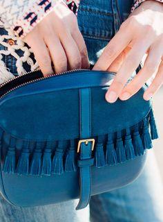 blue mini bag with fringe