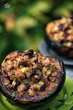 Apple And Sausage Stuffed Acorn Squash - Fill an acorn squash with a stuffing middle -- sweetened with apples and dried cranberries, and made savory with onions, garlic and celery.