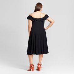 Women's Plus Size Rib Bardot Dress - Who What Wear Black 1X