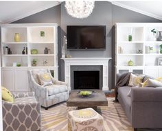 Green yellow and gray living room yellow and blue living room color Living Room Paint, Cozy Living Rooms, New Living Room, Living Room Modern, Living Room Designs, Living Room Decor, Dining Room, Grey And Yellow Living Room, Grey Yellow