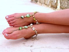 Barefoot Sandals Barefoot Beach Jewelry Green por SoftCrystal, $12.00