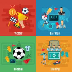 Buy Soccer Flat Set by macrovector on GraphicRiver. Soccer design concept set with victory football and training flat icons isolated vector illustration. Editable EPS an. Physical Activities For Kids, Soccer Pro, Vector Game, Software, Intense Games, Workout Warm Up, Portrait Illustration, Flat Illustration, Sports Day