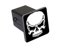 """Tribal Skull White On Black - 2"""" Tow Trailer Hitch Cover Plug Insert #GraphicsandMore"""