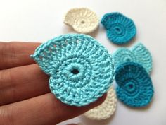 Crocheted sea shells applique blue Beach wedding by MadeByElina