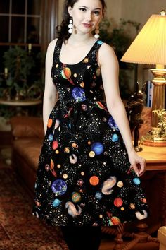 retro clothing, retro dress, geeky style, geek chic, teacher style, pin up, galaxy, mod clothing, pin up, vintage style, plus size dress, planets, mrs frizzle