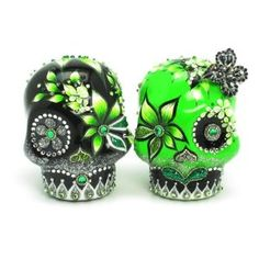 Amazon.com: Green and Black Wedding Day of Dead Skull Wedding Cake Toppers Day of The Dead A00024 Gothic Wedding Calavera Ceramic Handmade Dia De Los Muertos: Everything Else