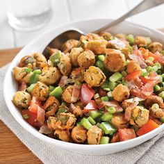 Fried Okra Salad – Paula Deen Magazine Fried okra salad may sound strange, but it just might be your new favorite way to eat okra. Okra Recipes, Vegetable Recipes, Cooking Recipes, Healthy Recipes, Easy Cooking, Cooking Tips, Bacon Recipes, Vegetable Dishes, Healthy Eats