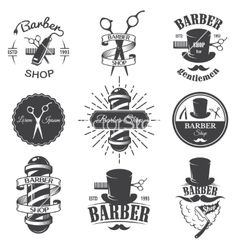 Set of vintage barber shop emblems vector by IvanMogilevchik on VectorStock®                                                                                                                                                      Mais