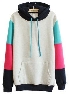 Sudadera con capucha combinado manga larga bolsillos-Gris EUR€25.78