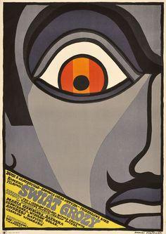 """lakat filmowy do polskiego filmu """"Świat grozy"""". Reżyseria: Ewa i Czesław Petelski, Witold Lesiewicz . Projekt plakatu: ANDRZEJ KRAJEWSKI, 1968."""