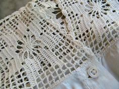 Vintage Edwardian Corset Cover Filet Crochet Yoke by JustTooMuch