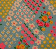 Vintage Fabric  Daisies Galore On Blue by BalancingActDesigns, $6.00