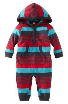 Tea Collection 'Bund Stripe' Hooded Romper (Baby) | Nordstrom