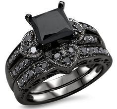 Engagement ring 2.50ct black Diamond princess silver wedding valentine gift ov in Jewelry & Watches   eBay